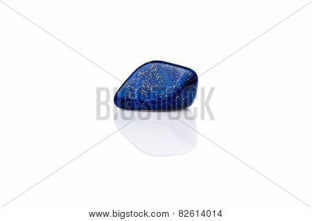 Beautiful Blue Lapis Lazuli Gem Stone Isolated