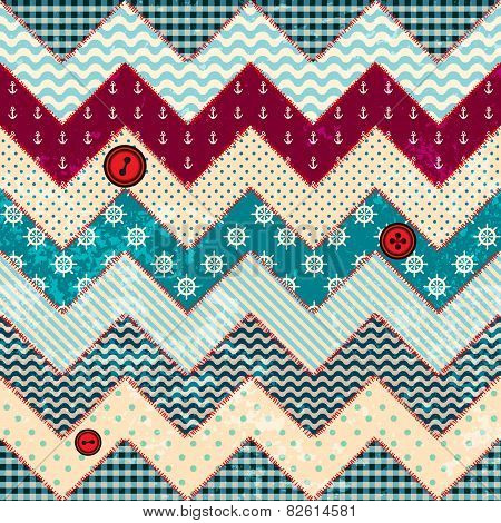 Chevron patchwork in nautical style