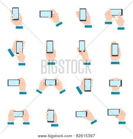 Hand With Phone Icons