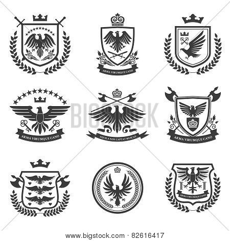 Eagle emblems icon set black