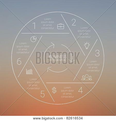 Circle line infographic, graph, diagram. Blur vector background.
