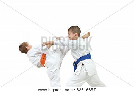 In karategi two athletes are doing paired exercises karate