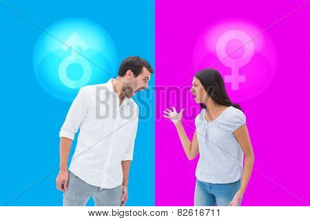 Angry couple shouting at each other against pink and blue