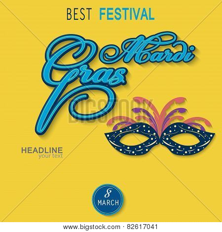 Mask with text to design leaflet , brochures, magazine at Mardi Gras Festival vector