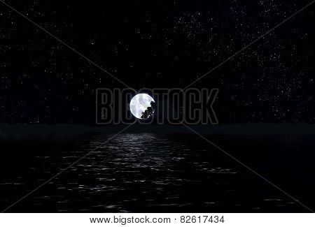 Portrait of Moon in the sky with stars and water.