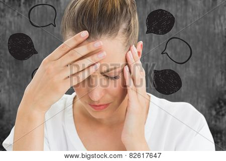 Woman with headache against speech bubbles