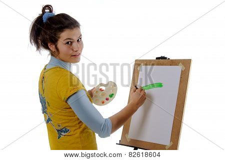Girl Artist Draws On Her The Easel