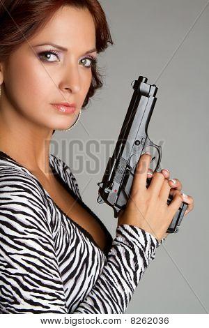 Woman Holding Gun
