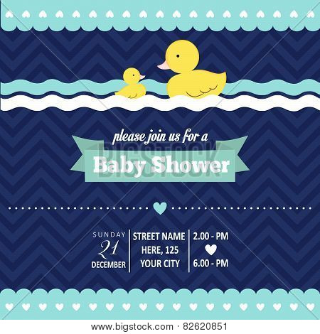 Baby Shower Invitation With Duck In Retro Style