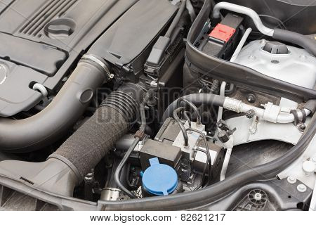 Overhead of engine in bonnet in a car