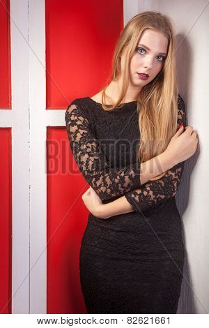 Beautiful Woman In Black Dress Vintage Red Interior