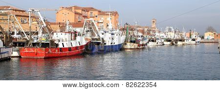 Red Fishing Vessel Other Ships Moored In The Port Of The Mediterranean Sea