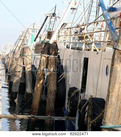 Fishing Vessels In Sea Harbor Moored