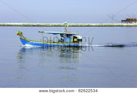 Fishing Boat In The Adriatic Sea In Italy