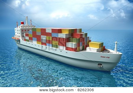 Cargo ship sails across the Ocean. My own design.