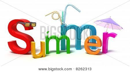 Word summer with colourful letters . 3D concept