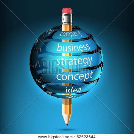Pencil and ball with banner, company, idea, concept, strategy. Abstract illustration with design elements of infographics business.  Icon.