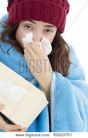 Woman Sick With Flu