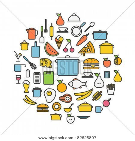 Kitchen tools and meal silhouette icons circle composition. Design elements