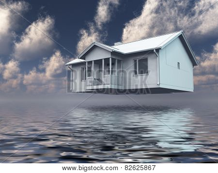 Home hovers above water