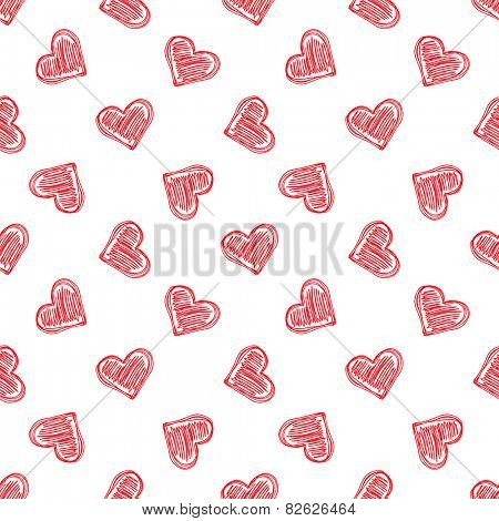 Seamless vector ornament of hand-drawn hearts