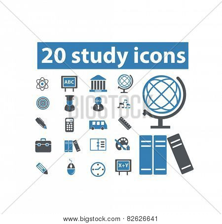 study, school, learning flat isolated icons, signs, illustrations vector set on background