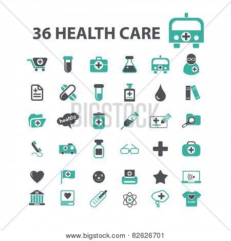 health care, hospital, doctor flat isolated icons, signs, illustrations vector set on background