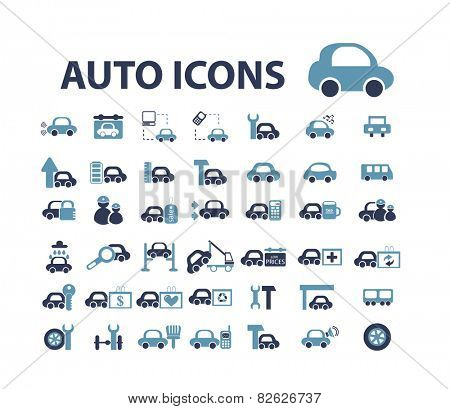 auto, car, mechanic flat isolated icons, signs, illustrations vector set on background