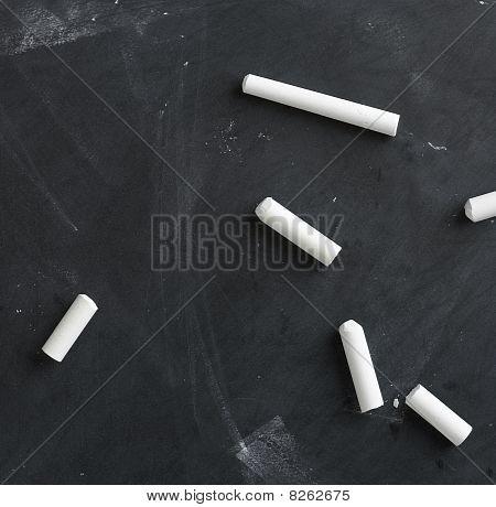 Blank Blackboard And Chalk Straight On 4