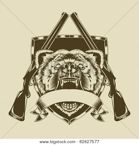 Illustration of angry bear head.