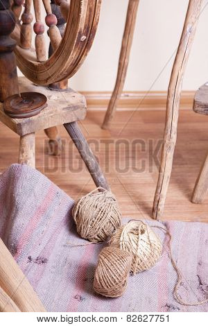 Distaff and skeins of thread