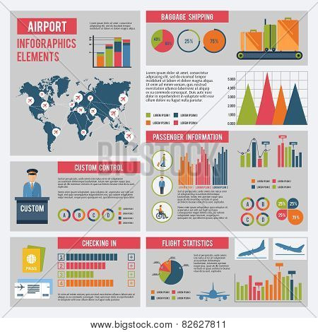 Airport Infographics Set