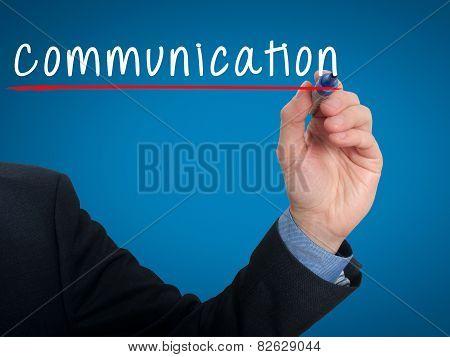 Businessman hand writing communication - Stock image