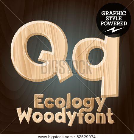 Vector font set of wood ecology font. Letter Q
