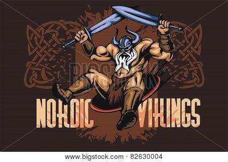 Viking norseman mascot cartoon with two swords