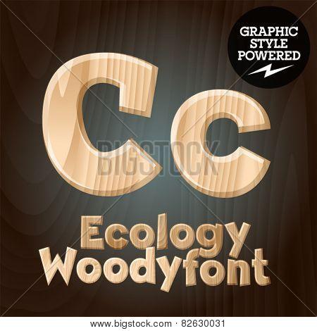 Vector font set of wood ecology font. Letter C