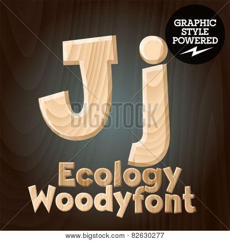 Vector font set of wood ecology font. Letter J
