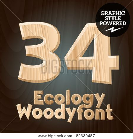 Vector font set of wood ecology font. Numbers 3 4
