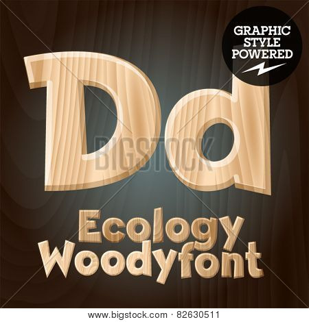 Vector font set of wood ecology font. Letter D