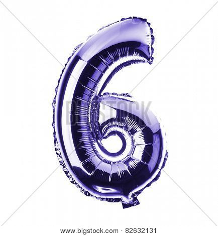 Purple Chrome balloon font part of full set of numbers, number six, 6