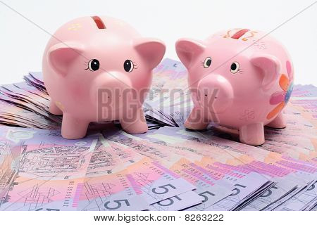 Piggy Banks On Dollar Notes