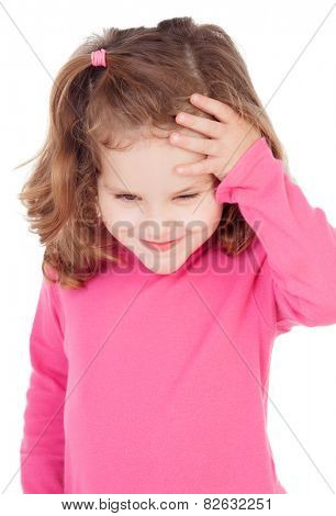 Little worried after making a prank isolated on white background