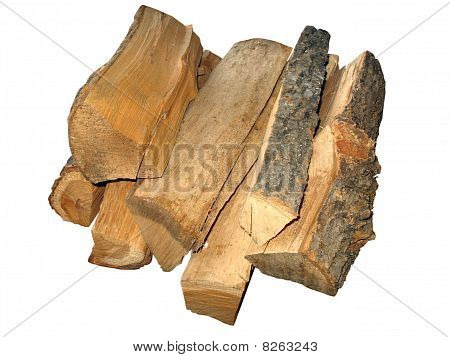 Stack Of Cut Logs Fire Wood Isolated Over White