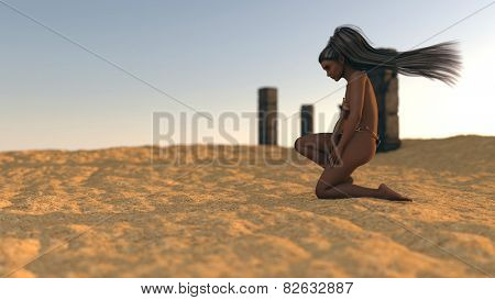 fantasy mystery girl in desert on ruins background