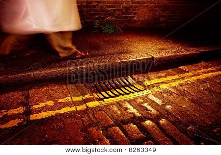 Man In Mac With Road Lines