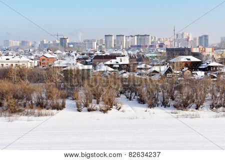 TYUMEN, RUSSIA - JANUARY 9, 2015: Panoramic view of residential areas. Found in 1586, Tyumen is the first Russian city in Siberia