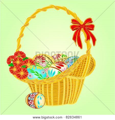 Easter Wicker And Easter Eggs Vector