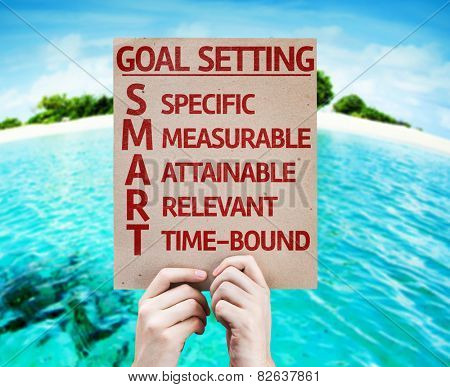 Goal Setting - SMART card with beach background
