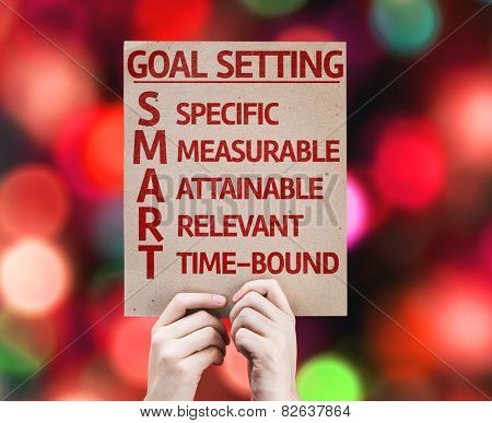 Goal Setting - SMART card with colorful background with defocused lights