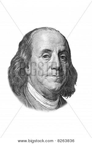 Benjamin Franklin Portrait On One Hundred Dollars Bill. Isolated On White.